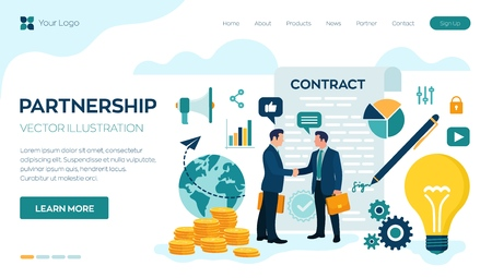 Partnership Concept. Financing of creative projects. Handshake of two business men. Agreement of parties. Signing documents. The investor holds money in ideas. Business team. Vector illustration.  イラスト・ベクター素材