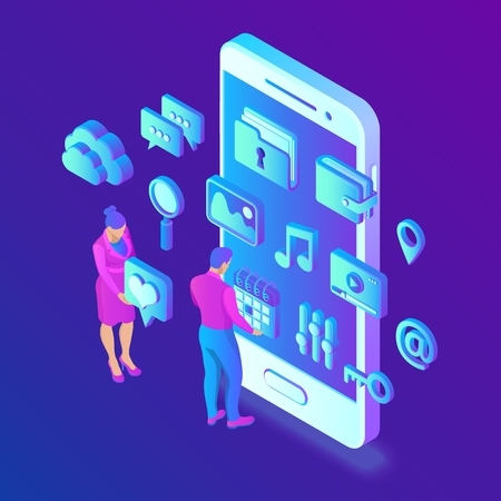 Social media apps on a smartphone. Social media 3d isometric icons. Mobile apps. Created For Mobile, Web, Decor, Application. Vector illustration infographic template with people and icons. 写真素材 - 122785395