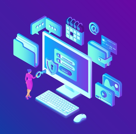 Data protection. Desktop pc with authorization form on screen, personal data protection. System of authentication, data access, login form on laptop screen. 3d isometric design. Vector illustration. 写真素材 - 122785396