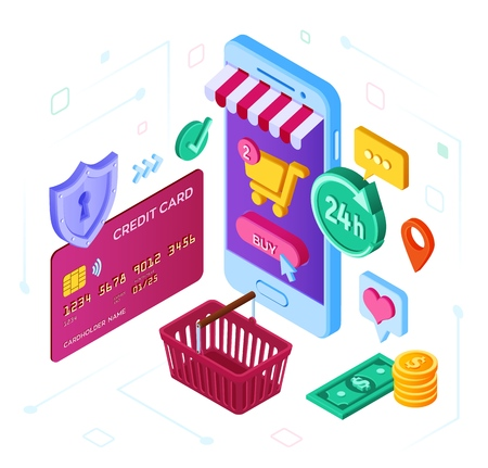Online shopping. 3D isometric online store. Shopping Online on Website or Mobile Application. Concept of e-commerce sales, digital marketing. Bank card, money and shopping bag. Vector illustration.