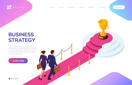 Gold Trophy Cup of the winner on a red carpet path. Businessman and businesswoman with briefcase in hand walking on red carpet to the success. Road to success. Business Strategy. Vector Illustration 写真素材 - 122476372