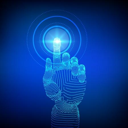 Main robotique touchant l'interface numérique. Réalité virtuelle. Touchez la future illustration filaire. Concept du monde de la communication ou de la cybersécurité. Concept futuriste de robotique. Illustration vectorielle Vecteurs