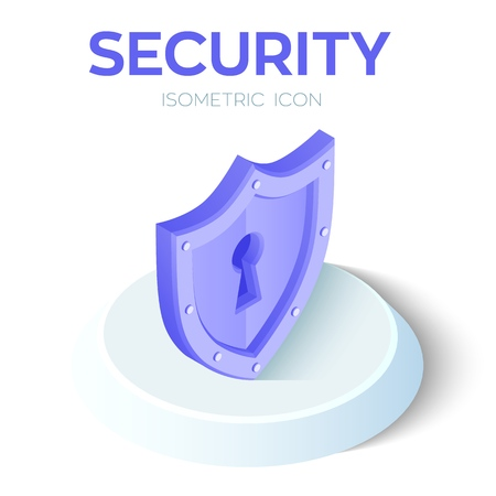 Security Shield Isometric Icon. 3D Isometric Security Shield Sign. Created For Mobile, Web, Decor, Print Products, Application. Perfect for web design, banner and presentation. Vector Illustration.  イラスト・ベクター素材