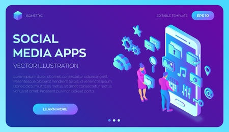 Social media apps on a smartphone. Social media 3d isometric icons. Mobile apps. Created For Mobile, Web, Decor, Application. Vector illustration infographic template with people and icons.  イラスト・ベクター素材