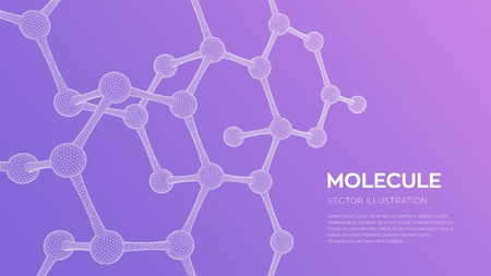 Molecule Structure. Dna, atom, neurons. Molecules and chemical formulas. 3D Scientific molecule background for medicine, science, technology, chemistry, biology Vector illustration Stock Illustratie