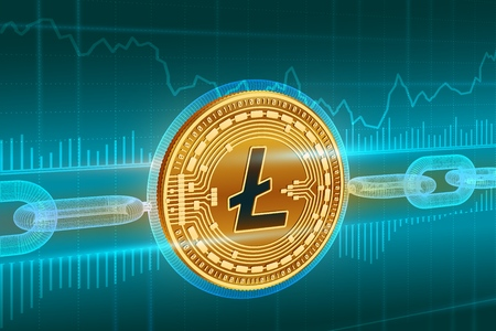 Crypto currency. Block chain. Litecoin. 3D isometric Physical golden Litecoin coin with wireframe chain. Blockchain concept. Editable Cryptocurrency template. Stock vector illustration