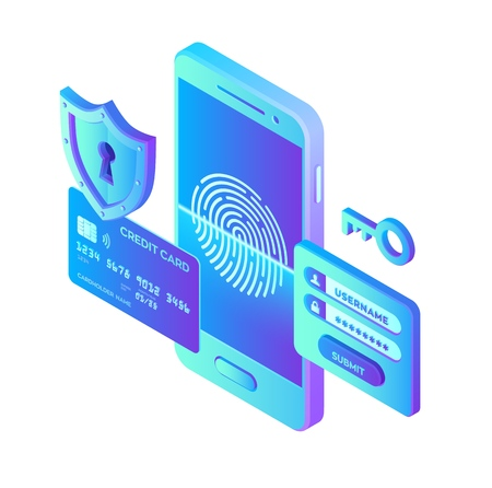 Mobile payments. Data protection concept. Personal data protection. Credit card check and software access data as confidential. 3d isometric flat design. Vector illustration. 写真素材 - 122785400