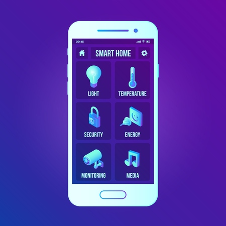 Smart home technology interface on smartphone app screen. Remote home control system on smartphone. User interface of smart home concept. Home network. Internet of things, IOT. Vector illustration.  イラスト・ベクター素材