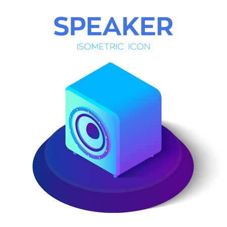 Speaker. Acoustic speaker 3D isometric icon. Created For Mobile, Web, Decor, Print Products, Application. Perfect for web design, banner and presentation. Vector Illustration 写真素材 - 122476380