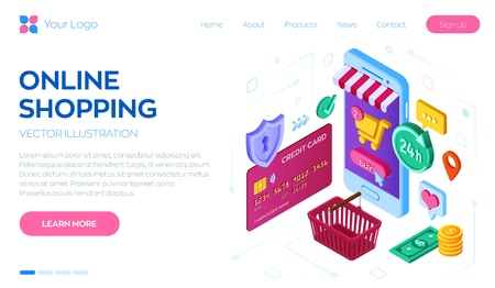 Online shopping. 3D isometric online store. Shopping Online on Website or Mobile Application. Concept of e-commerce sales, digital marketing. Bank card, money and shopping bag. Vector illustration 写真素材 - 122476381