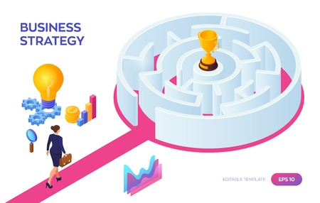 Businesswoman with briefcase in hand walking to the success through the labyrinth. Road to success. Gold Trophy Cup of the winner inside the maze. Business Strategy Concept. Vector Illustration 写真素材 - 122476385