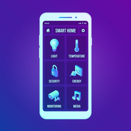 Smart home technology interface on smartphone app screen. Remote home control system on smartphone. User interface of smart home concept. Home network. Internet of things, IOT. Vector illustration. 写真素材 - 122785408