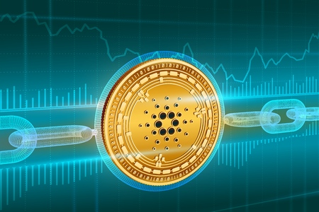 Crypto currency. Block chain. Cardano. 3D isometric Physical golden Cardano coin with wireframe chain. Blockchain concept. Editable Cryptocurrency template. Stock vector illustration