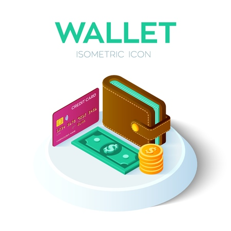 Wallet Icon. 3D Isometric Wallet icon with credit card and money. Dollar. Bank card. Payment concept. Created For Mobile, Web design, Decor, Application. Vector Illustration.  イラスト・ベクター素材