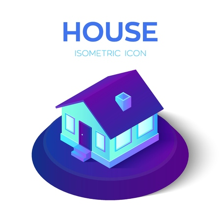 House. 3D isometric house icon. Real estate, rent, family and home concept. Created For Mobile, Web, Decor, Application. Perfect for web design, banner and presentation. Vector Illustration.  イラスト・ベクター素材