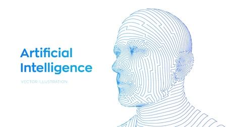 AI. Artificial intelligence concept. Ai digital brain. Abstract digital human face. Human head in robot digital computer interpretation. Robotics concept. Wireframe head concept. Vector illustration. Çizim