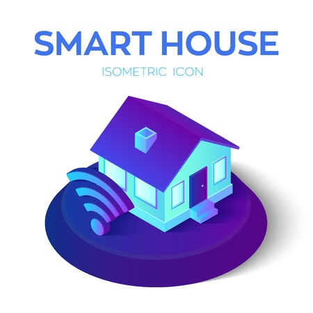 Smart Home. 3D isometric Smart Home icon. House icon with wi-fi sign. Remote home control system. Internet of things, IOT. Real estate, rent, family and home concept. Vector Illustration.
