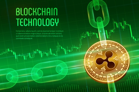 Ripple. Crypto currency. Block chain. 3D isometric Physical golden bitcoin with wireframe chain on blue financial background. Blockchain concept. Editable Cryptocurrency template. Vector illustration.