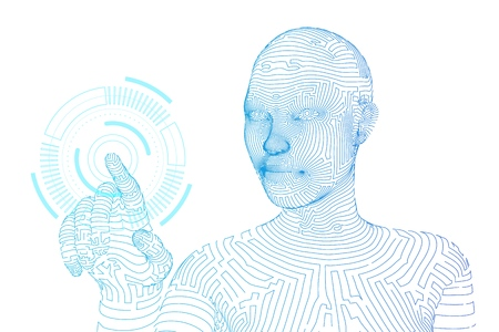 Wireframed female cyborg touching digital graph interface. AI. Artificial intelligence concept. Robotic hand touching digital interface. Touch the future wireframe design. Vector illustration Çizim