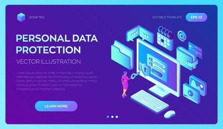 Data protection. Desktop pc with authorization form on screen, personal data protection. System of authentication, data access, login form on laptop screen. 3d isometric design. Vector illustration 写真素材 - 122476392
