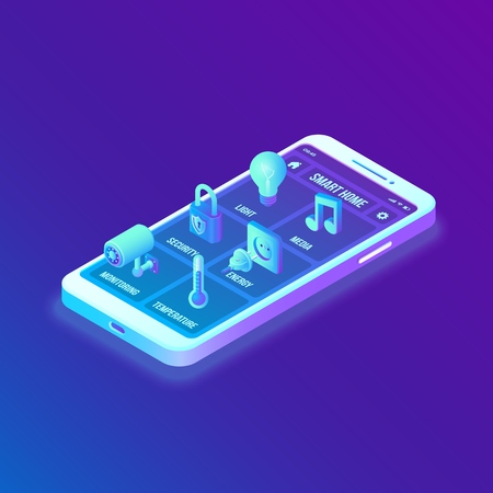 Smart home technology 3D isometric interface on smartphone app screen. Remote home control system on smartphone. User interface of smart home concept. Internet of things, IOT. Vector illustration