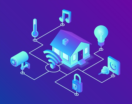 Smart home system concept. 3D isometric remote house control system. IOT concept. Smart home connection and control with devices through home network. Internet of things. Vector illustration