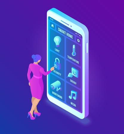 Smart home technology 3D isometric interface on smartphone app screen. Remote home control system on smartphone. User interface of smart home concept. Internet of things, IOT. Vector illustration 写真素材 - 122785431