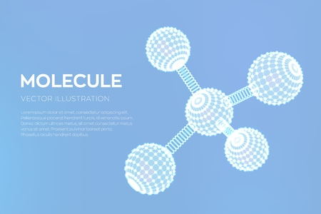 Molecule Structure. Dna, atom, neurons. Molecules and chemical formulas. 3D Scientific molecule background for medicine, science, technology, chemistry, biology Vector illustration  イラスト・ベクター素材