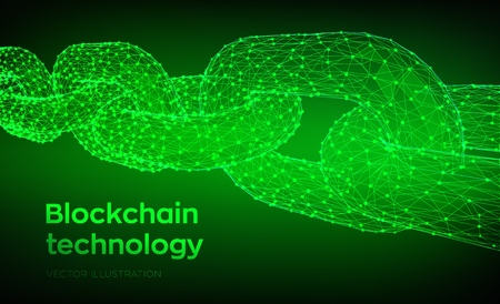 Block chain. Crypto currency. Blockchain concept. 3D Low polygonal chain consists of network connections. Concept of digital code. Editable cryptocurrency template. Vector illustration 写真素材 - 122476396