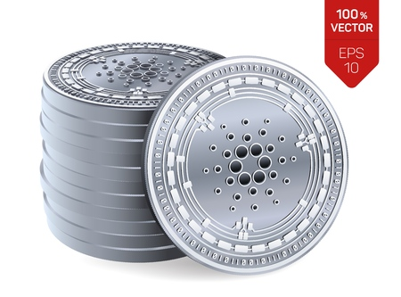 Cardano. Crypto currency. 3D isometric Physical coins. Digital currency. Stack of silver coins with Cardano symbol isolated on white background. Stock vector illustration