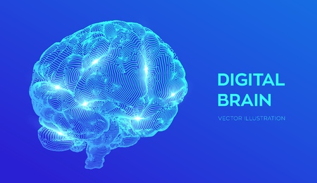 Brain. Digital brain. 3D Science and Technology concept. Neural network. IQ testing, artificial intelligence virtual emulation science technology. Brainstorm think idea. Vector illustration 写真素材 - 122683267