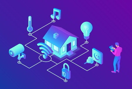 Smart home system concept. 3D isometric remote house control system. IOT concept. Smart home connection and control with devices through home network. Internet of things. Vector illustration 写真素材 - 122683268