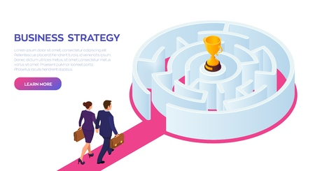 Businessman and businesswoman with briefcase in hand walking to the success through the labyrinth. Road to success. Gold Trophy Cup of the winner inside the maze. Vector Illustration