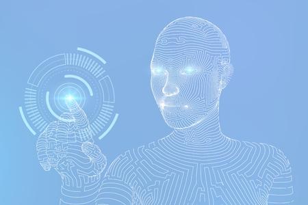 Cyborg femenino con estructura metálica conmovedora interfaz gráfica digital. AI. Concepto de inteligencia artificial. Mano robótica tocando la interfaz digital. Toque el futuro diseño de estructura metálica. Ilustración vectorial Ilustración de vector