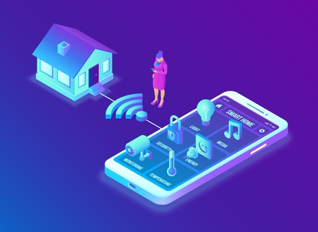 Smart home system concept. 3D isometric remote house control system. IOT concept. Smart home connection and control with devices through home network. Internet of things. Vector illustration 写真素材 - 122683270