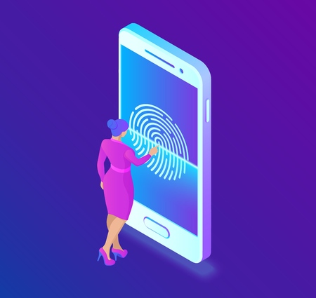 Scanning fingerprint on smartphone. Unlock mobile phone. Biometrics security. Touch screen smartphone with a zone to touch the human finger, to unlock the device. Isometric Vector Illustration