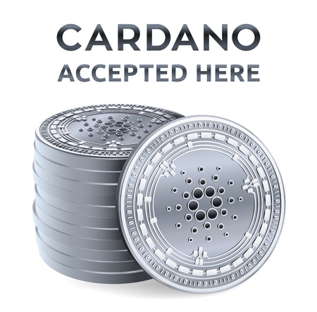 Cardano. Accepted sign emblem. Crypto currency. Stack of silver coins with Cardano symbol isolated on white background. 3D isometric Physical coins with text Accepted Here. Vector illustration