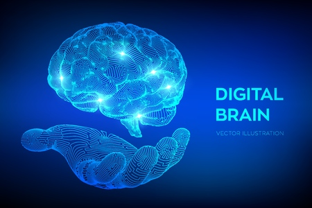 Brain. Digital brain in hand. 3D Science and Technology concept. Neural network. IQ testing, artificial intelligence virtual emulation science technology. Brainstorm think idea. Vector illustration