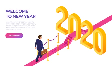 Welcome 2020. New Year. Path to New Year. Businessman with briefcase in hand walking on red carpet to the 2020 New Year. Creative Idea. Vector Illustration