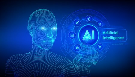 AI. Artificial intelligence. Machine learning. Wireframed female cyborg hand touching digital graph interface. Big data analysis and automation technology. Touch the future. Vector illustration 写真素材 - 122683275