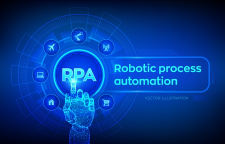 RPA Robotic process automation innovation technology concept on virtual screen. Robotic hand touching digital interface. AI. Artificial intelligence. Machine learning. Vector illustration 写真素材 - 122476405