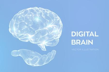 Cerveau. Cerveau numérique en main. Concept de science et technologie 3D. Réseau neuronal. Test de QI, technologie scientifique d'émulation virtuelle d'intelligence artificielle. Remue-méninges penser idée. Illustration vectorielle