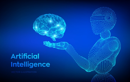 AI. Artificial intelligence. AI in the form of woman cyborg or bot. Wireframe robot. Digital brain. Brain in robotic hand. Machine learning. Graphic design concept of future. Vector illustration 写真素材 - 122476407