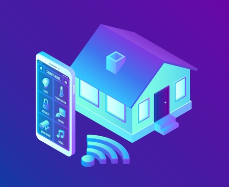 Smart home system concept. 3D isometric remote house control system. IOT concept. Smart home connection and control with devices through home network. Internet of things. Vector illustration 写真素材 - 122683276