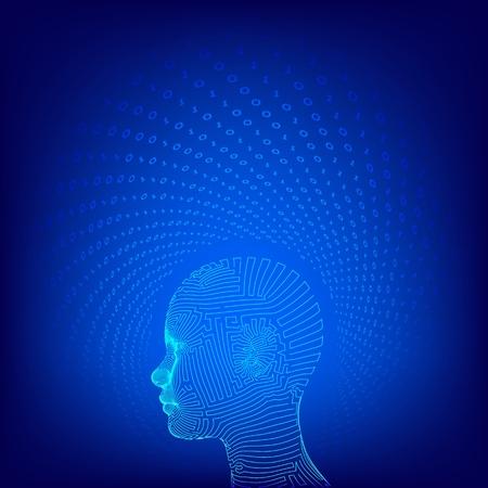 AI. Artificial intelligence concept. Ai digital brain. Abstract digital human face. Human head in robot digital computer interpretation. Robotics concept. Wireframe head concept. Vector illustration 写真素材 - 122476409
