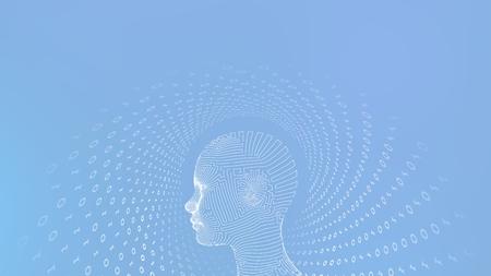 AI. Artificial intelligence concept. Ai digital brain. Abstract digital human face. Human head in robot digital computer interpretation. Robotics concept. Wireframe head concept. Vector illustration 写真素材 - 122476411