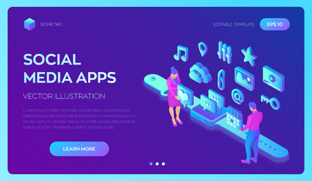 Social media apps on a Smart Watch. Social media 3d isometric icons. Mobile apps. Created For Mobile, Web, Decor, Application. Vector illustration infographic template with people and icons 写真素材 - 122683277