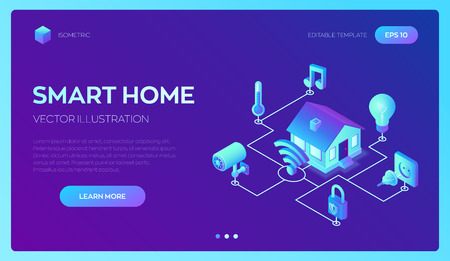 Smart home system concept. 3D isometric remote house control system. IOT concept. Smart home connection and control with devices through home network. Internet of things. Vector illustration 写真素材 - 122683278