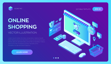 Online shopping. 3D isometric online store. Shopping Online on Website or Mobile Application. Concept of e-commerce sales, digital marketing. Bank card, money and shopping bag. Vector illustration  イラスト・ベクター素材