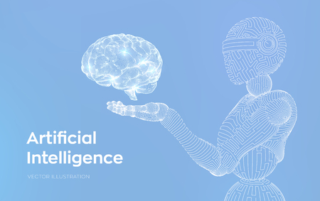 AI. Artificial intelligence. AI in the form of woman cyborg or bot. Wireframe robot. Digital brain. Brain in robotic hand. Machine learning. Graphic design concept of future. Vector illustration